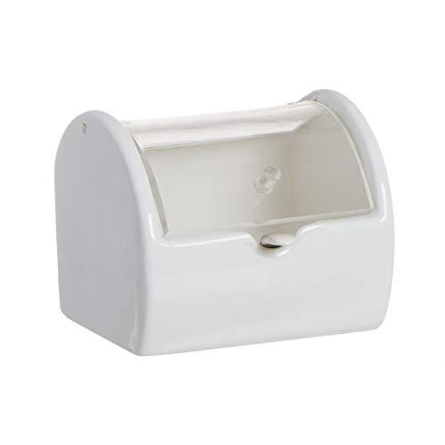 Deco Line - Zuccheriera in ceramica, con coperchio in acrilico, 8 cm, colore: Bianco