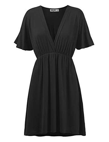 Womens Short Sleeve Kimono Style Dress Top M Black