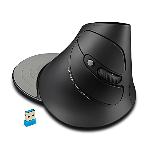 Zelotes Mouse Wireless,2.4GHz Mouse Verticale, Ergonomico Mouse Senza Fili Portatile con 3 DPI Regolabile, Design per Diminuire Il Male al Polso