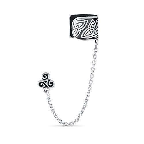 Celtic Irish Trinity Triskele Wrap Cartilage Ear Cuff Chain Pierced Ear Stud Earrings 1Pcs Oxidized 925 Sterling Silver