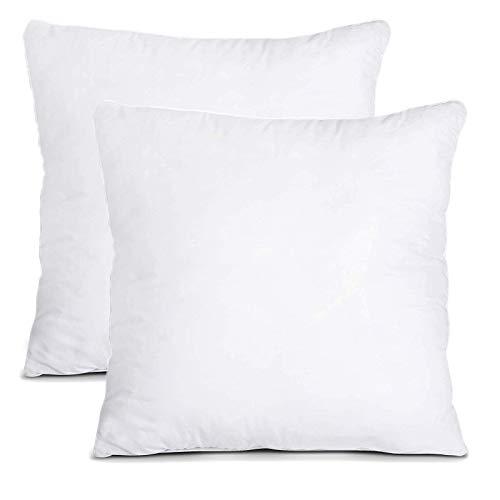 Dricar Almohadillas interiores de cojín, 2 unidades, color blanco suave, para ropa de cama, relleno de cojín cuadrado (45 x 45 cm)