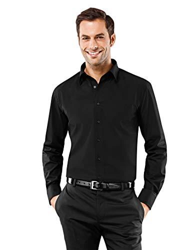 Vincenzo Boretti Chemise Homme Coupe Normale Regular-fit, 100% Coton, Tissu Infroissable et agréable à Porter, Manches-Longues, col Kent, Unie Noir 43-44