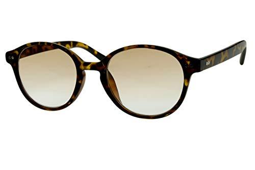 Lesebrillen mit Sonnenschutz Damen Herren beige schwarz gepunktet (Safari-look) rund glänzend getönt als Sonnenbrille leicht modern schmal Kunststoff 1.0 1.5 2.0 2.5 3.0, Dioptrien:Dioptrien 2.0