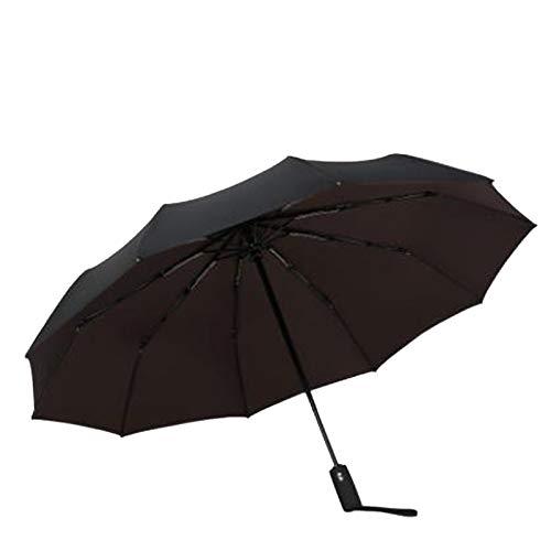 KTZAJO Double Layer Windproof Women's Automatic Umbrella Female Male Ten Bone Three Folding Men's Umbrella Large Rain Business Parasol (Color : Brown)