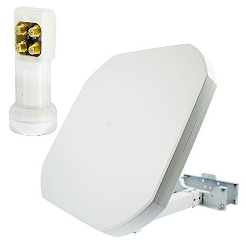 PremiumX FLAT43 Sat Flachantenne mit Quad LNB - Satellitenantenne Satellitenanlage für 4 Teilnehmer - 4K UHD FullHD HD