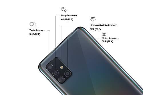 Samsung Galaxy A51 Android Smartphone ohne Vertrag, 4 Kameras, 6,5 Zoll Super AMOLED Display, 128 GB/4 GB RAM, Dual SIM, Handy in schwarz