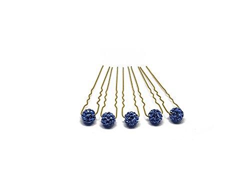 5 Tornante con strass - Accessori per capelli da sposa - Set oro - Blu