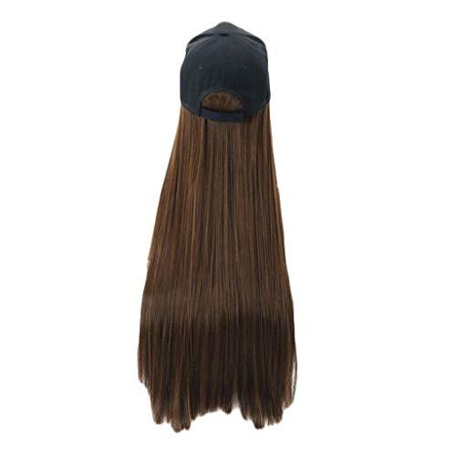Damen Perücken, Lange gerade Perücke Kappe 30 Zoll langes Haar Baseballmütze Ball Caps Casual Hut Perücke