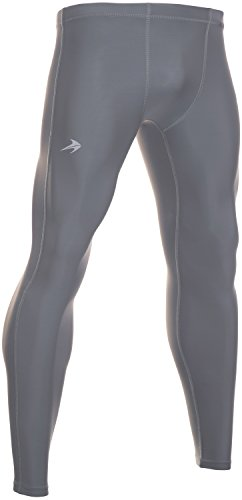 CompressionZ Men's Compression Pants Base Layer Running Tights Gym Leggings (Gray, XL)