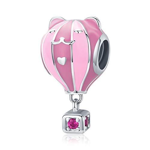 Bijoux Blu Roze Kat Hot Air Ballon Echte 925 Sterling Zilver Leuke Kat Oor Roze Emaille Kralen Bedel fit Vrouwen Originele Zilveren Bedels Armband