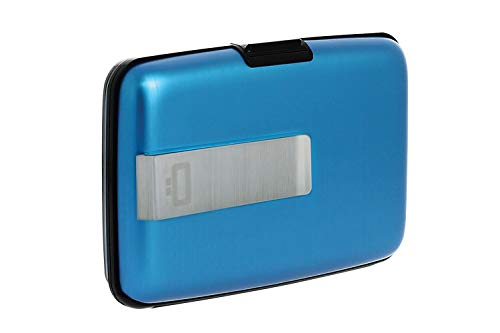 Ögon Smart Wallets - Stockholm Money Clip Card Holder - RFID Protection : protcts Your Cards Against Fraud - Up to 10 Cards + reveits + Notes - Anodised Aluminium (Blau)