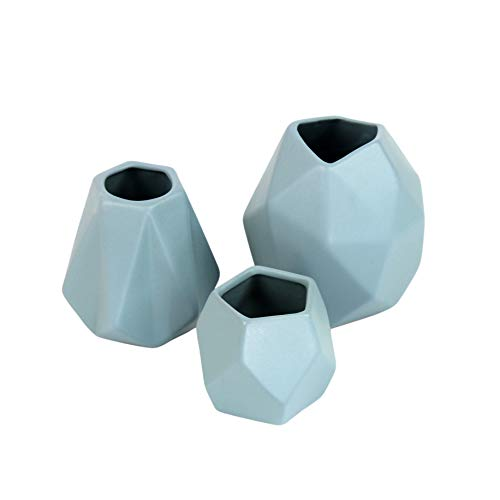 Flanacom 3-er Set Deko-Vase im puristischen Design - Moderne Tisch-Deko für die Wohnung - geometrische Keramik Wohn-Accessoires - Dekoration Geschenk-Idee Weihnachten (3er Set)