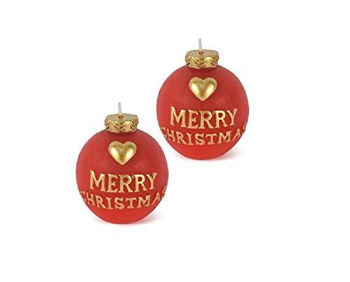 dueesse Coppia Candele Pallina di Natale Candela Natalizia 6,5 x 6 cm Merry Christmas
