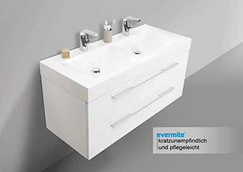 Intarbad ~ Design Doppelwaschtisch, Unterschrank 120cm Weiss und LED Lichtspiegel Bad Set Grau Matt Lack IB5296