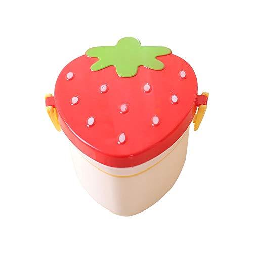 Cttiulifh Bento Box Contenedores almuerzo for el almuerzo de los niños Prueba caja del alimento contenedores estancos, fresa en forma de mini caja de almuerzo, caja de almuerzo de los niños rojos lind