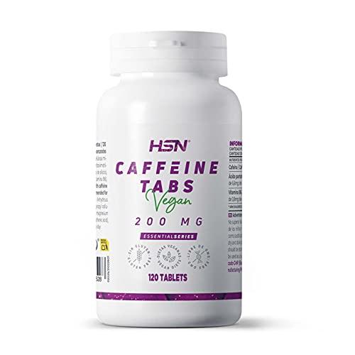 Cafeína Anhidra de HSN | 200mg | Efecto Rápido | Termogénico + Estimulante + Activador | Aumenta la Concentración y Rendimiento Deportivo | No-GMO, Vegano, Sin Gluten | 120 Tabletas