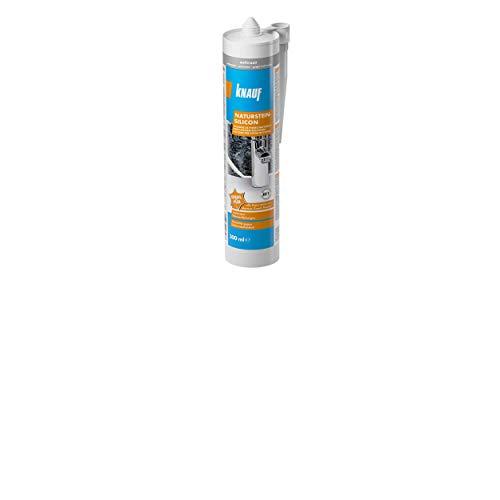 Knauf 657482 Naturstein-Silicon – Hochleistungs, Stein-Silikon zum Abdichten, ideal geeignet für das Verfugen von Marmor und Granit, 300-ml, Anthrazit, 300 ml