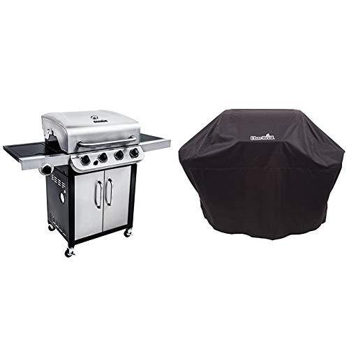 Char-Broil Convective Series 440S -- Barbecue à gaz à 4 brûleurs avec brûleur latéral, finition en acier inoxydable. & 140 766 - Housse pour grill à 3-4 brûleurs, noir.