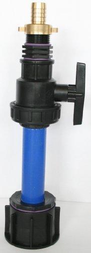 Ame90r_9482 98 le tube d'écoulement avec tube en plastique 100 mm dN32 kunststoffkugelhahn aG 1, raccord double en laiton avec bec, schlauchaufsatz-conteneur iBC-adaptateur-montage-bidon