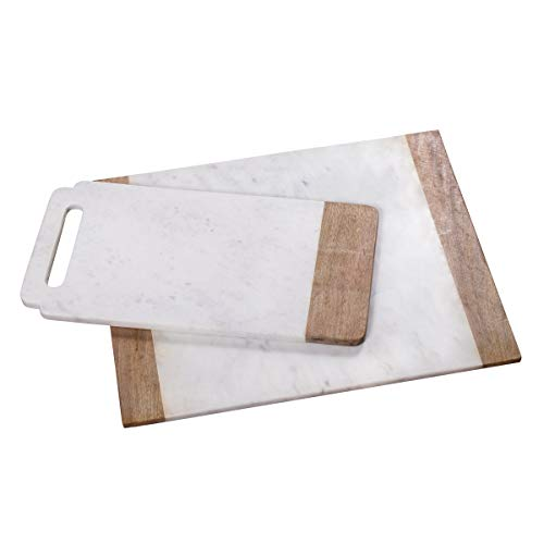 Creative Home Natural White Marble with Mango Wood 18″ x 9″ Handled Board & 16″ x 20″ Pastry Board Set