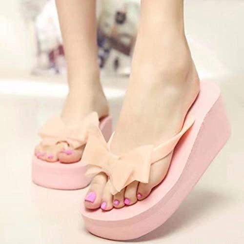 Ririhong 2021 Chanclas de tacón Alto para Mujer Antideslizante Ropa de Verano para Mujer Sandalias y Zapatillas de Playa para estudiantes-37_Pink_Bow