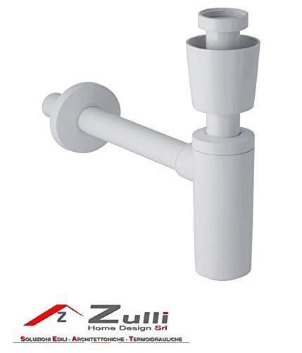 Geberit Siphon für Waschbecken Anschluss 3,1 cm (11/4Zoll), Durchmesser 40 mm Bianco