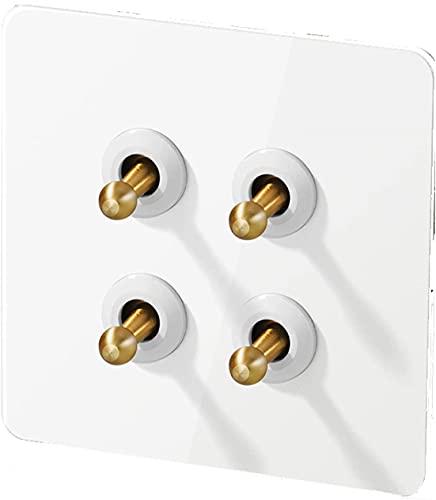 PJDOOJAE 1/2/3/4 GANG WAJO CAMISETAL DE INTERRUPTOR DE LOBLO DE LOTENERO 1-4 GAND 2 WAY 86 Tipo 220V Interruptor de luz Palanca de la palanca Interruptor de la luz de la pared de la pared del grano de