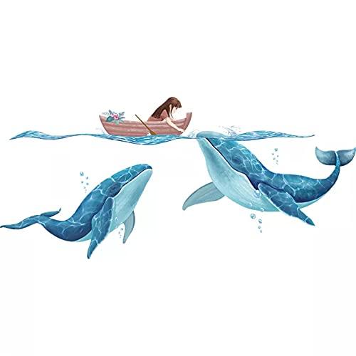 Etiqueta engomada de la pared del barco de la muchacha de la historieta Diy calcomanías murales de los animales de las ballenas para las habitaciones de los niños decoración de la casa del dormitorio