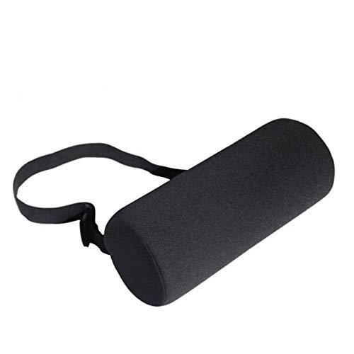 siqiwl Almohada lumbar del coche negro ajustable hebilla de apoyo de espalda baja almohada ergonómica hogar lumbar rollo sillas de oficina cilindro para asiento de coche universal viaje