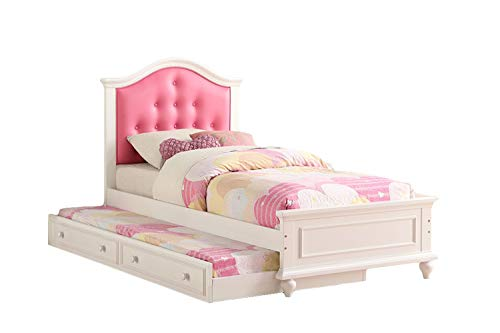 Poundex Cherub Twin Size Bed with Trundle in Pink and White