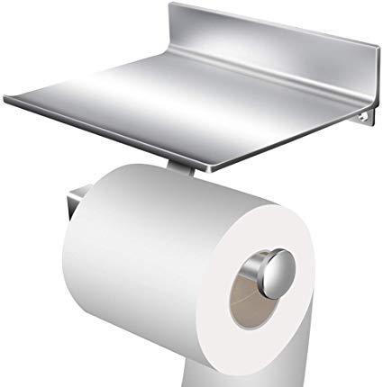 StillCool Portarrollo para Papel Higiénico de Aluminio rollo de papel Sin Taladro Con dos adhesivos 3M y el estante del almacenaje del teléfono móvil (multicolor)