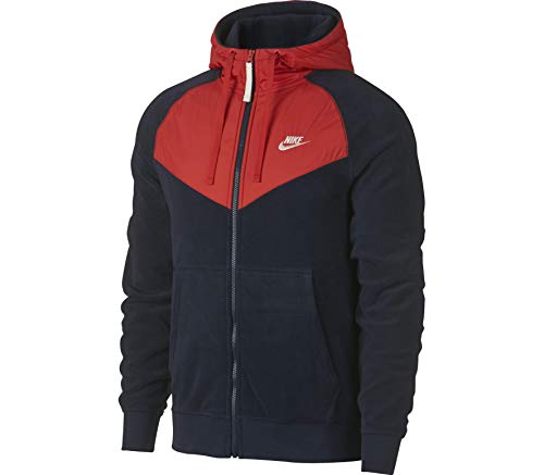 Nike Men's Sportswear Full Zip Hoodie Obsidian/Habanero Red/Sail Size Large