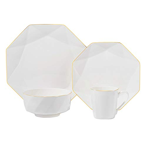 Chulan Bone China Dinnerware Set for 1 Person Pack of 4 Dish Set with Octagon and Gold Trim Design Dinner Plate Salad Plate Cereal Bowl Coffee Mug