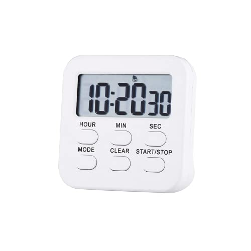 Timer,Kitchen Timer for Cooking,Magnetic Digital Timer Loud Alarm,for Kids,Sports,Classroom,Teacher,Oven (White)