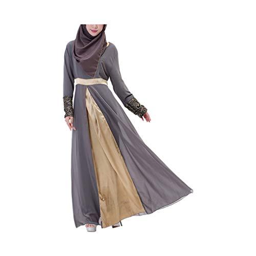 MERICAL Moda Casual Mujer Vestido Largo Maxi Vestido de Dubai Patchwork Islam Abaya Muslim Cóctel Ropa(Gris,Medium)