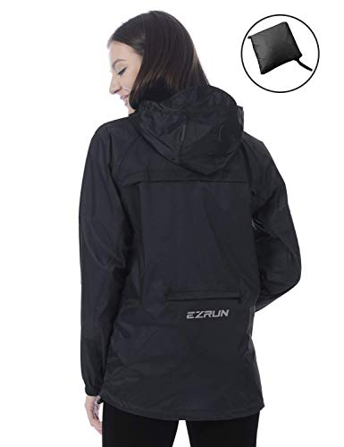 EZRUN Women's Waterproof Hooded Rain Jacket Windbreaker Lightweight Packable Rain Coats(Black,l)