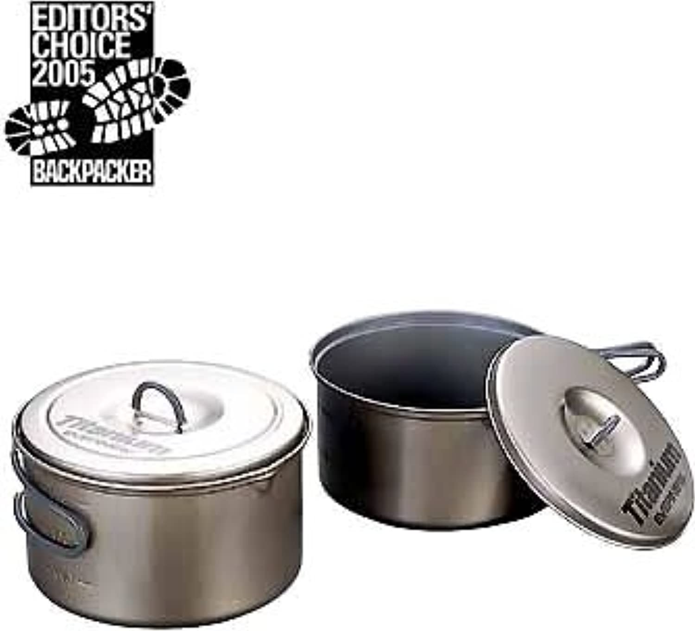 Evernew Titanium NonStick Pot Set L with Handle (1.3 L + 1.9 L)