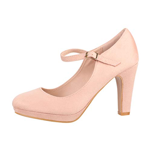 Elara Damen Pumps Riemchen High Heels Vintage Chunkyrayan New BL692 Pink-39