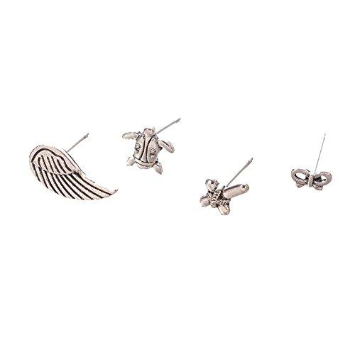 PU Ran donne 4pcs/set vintage Turtle Wing Cross Bowknot lega orecchini regalo–argento