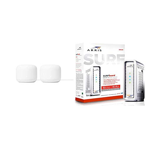 Google Nest WiFi 4 x 4 AC2200 Mesh Router 2 Pack and Surfboard DOCSIS 3.1 Gigabit Cable Modem SB8200 Bundle