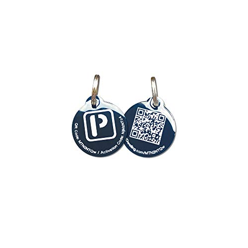 PetDwelling Lightweight Blue QR Code Pet ID Tag Links to Online Profile/Emergency Contact/Medical Info/Google Map Location Stamp (Epoxy Coated)