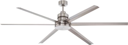 Craftmade Outdoor Ceiling Fan with Remote MND72BNK6 Mondo 72 Inch Large Metal 6 Blade Industrial Fan for Patio, Aluminum