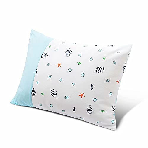 """Toddler Pillow with Pillowcase, Mokeydou Kids Pillow for Sleeping, 13"""" x 18"""" Children Bed Pillow with Washable and Soft Feather Fiber for Daycare, Baby Cribs, Toddler Beds and Car Rides."""