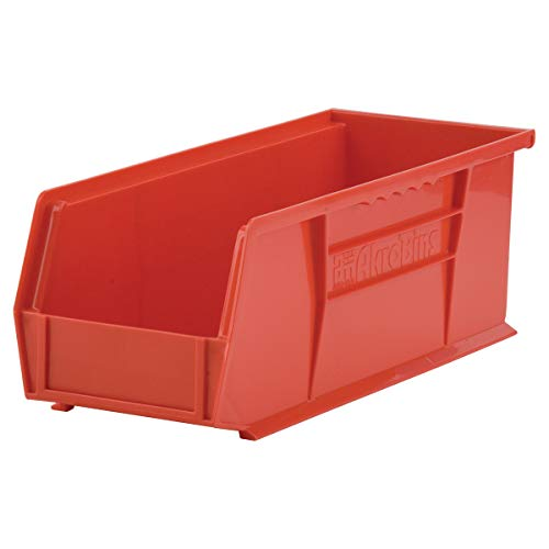 Akro-Mils 30234 AkroBins Plastic Storage Bin Hanging Stacking Containers, (15-Inch x 5-Inch x 5-Inch), Red, (12-Pack) (30234RED)