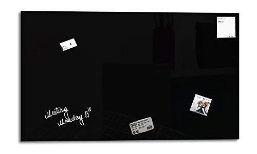 Glas Expert | Smart Glass Board ® | Glas Whiteboard | 90 x 45 cm | Schwarz | Magnettafel | Memoboard | Magnetwand | + 3 Magnete + 1 Marker