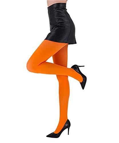CozyWow Blickdicht Damen Strumpfhose Elastisch Semi Stützstrumpfhose in 13 Farben (Orange, L-XL)