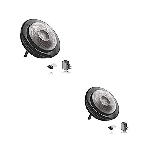 Jabra Bluetooth Speakerphone Speak 710, 2pk Bundle, Set of 2 Speakers, Compatible with USB, Pc, Mac, Bluetooth Devices, Voice & Video Apps - Zoom, Skype, Teams Version (Deluxe MS Bundle w/AC Charger)