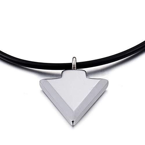 KnBoB Wolframcarbid Halskette für Herren Silber Dreieck Anhänger