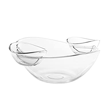 Adorn Crystal Clear Plastic Chips n' Dips / Salad Bowl with 2 Detachable Dip Cups Set