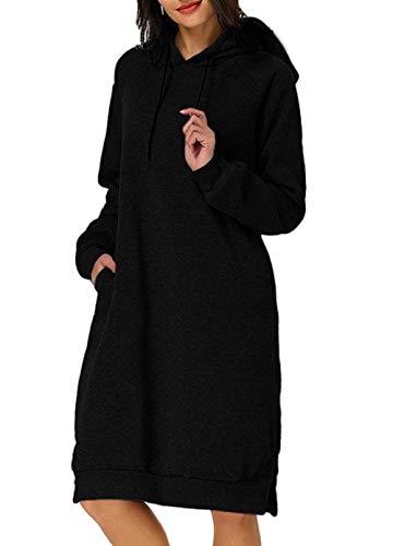 Huha Sudadera Larga con Capucha para Mujer Vestido Deportiva de Algodón con Bolsillos Jersey de Casual de Otoño Invierno de Color Sólido